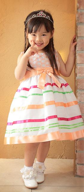 マルチカラーリボンテープドレス