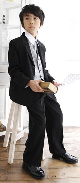 シルバーベストの黒ドレススーツセット