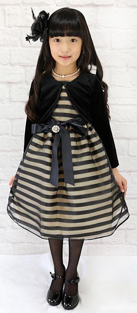 ブラウンゴールド&ブラックのボーダードレス