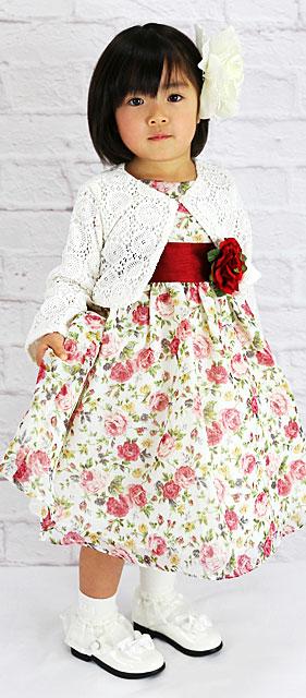 シフォン フラワープリントノースリーブドレス