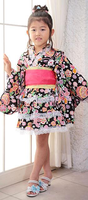 お花&毬柄浴衣ドレス3点セット