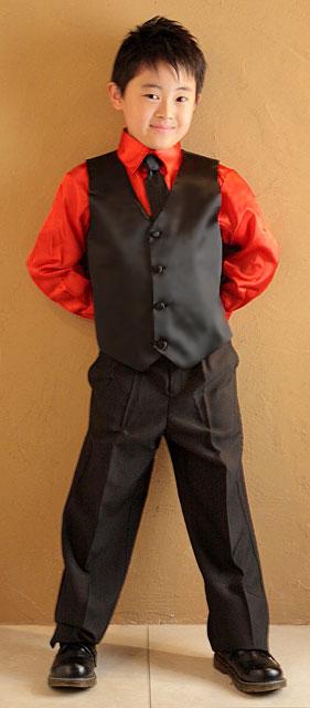 サテンシャツ&ベストスーツセット