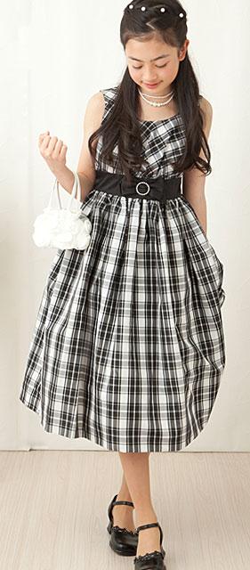 モノトーンチェックエレガントノースリーブドレス