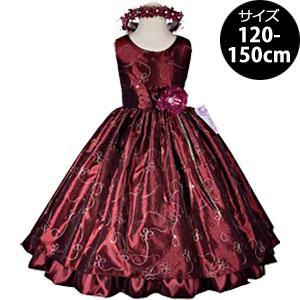フラワー刺繍が華やかな豪華タフタドレス「バーガンディー」