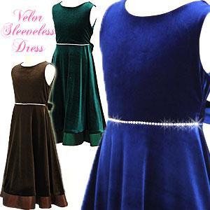 ストレッチベロア ノースリーブドレス