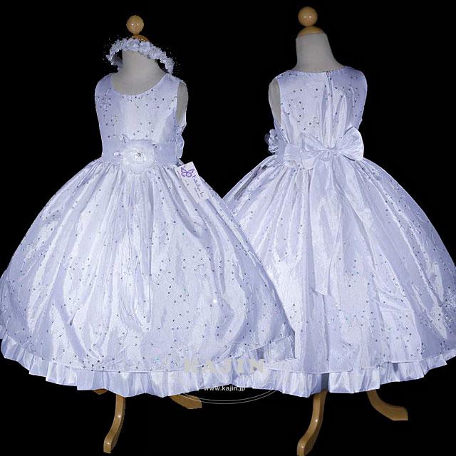フラワー刺繍が華やかな豪華タフタドレス「ホワイト」