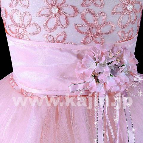 パールがキラキラシルエットが美しい高級プリンセスドレス「ピンク」