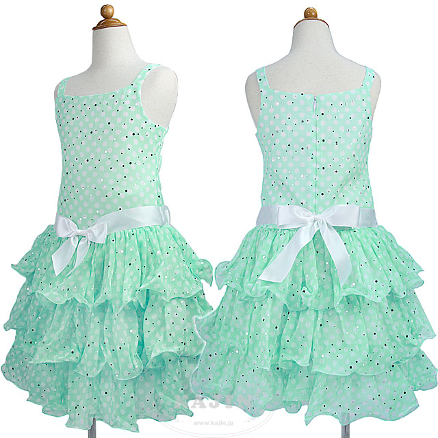 SALE キラキラスパンコールの3段フリルスカート レトロなドット柄ノースリーブドレス「ミントグリーン」