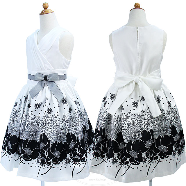 SALE フラワープリントのモノトーンノースリーブドレス