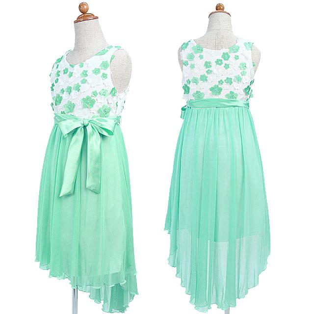 SALE 魅惑的なミントグリーンのテールロングシフォンスカートと小花モチーフのノースリーブドレス