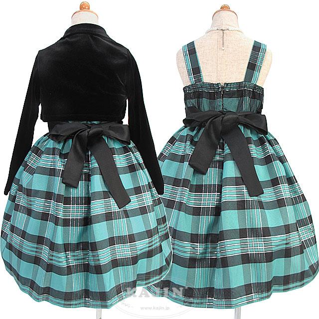 SALE (数量限定)ストレッチベロアのフリルボレロ付きチェック柄ノースリーブドレス