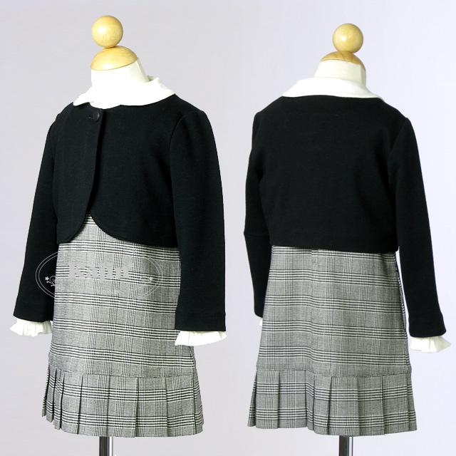 お受験に♪グレンチェックのジャンパースカートが可愛いお出かけ着2点セット 結婚式 発表会