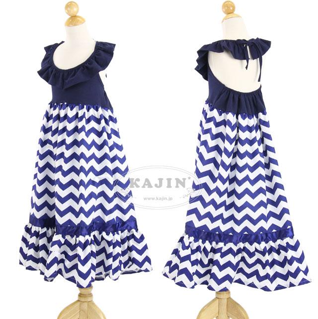 シェブロン柄 ホルターネック リゾートマキシワンピース ドレス「ネイビー」紺