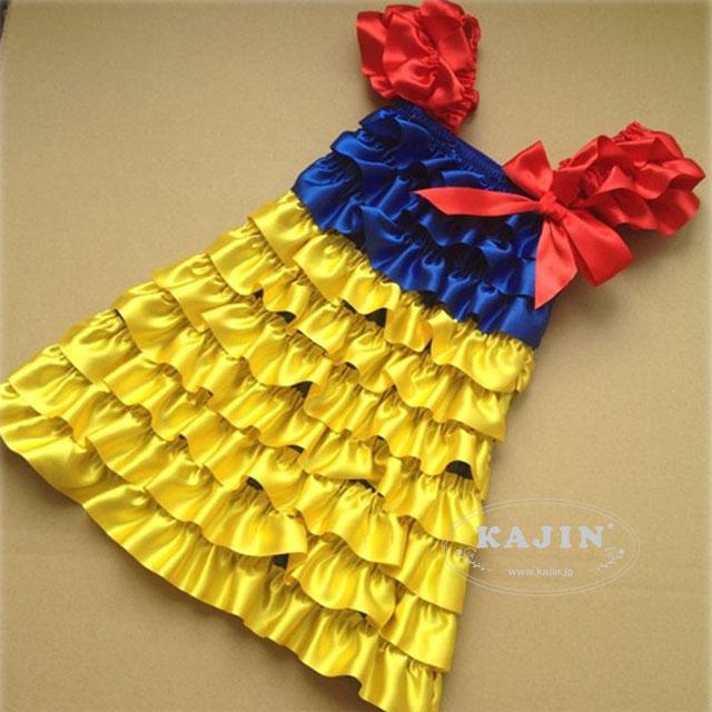 白雪姫風 サテン フリル ドレス(アウトレット)(コスチューム 仮装 プリンセス コスプレ ワンピース)