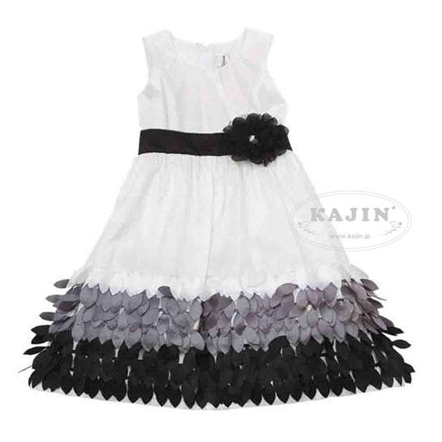 スーパーSALE ジュニア モノトーン フェザー風フリル ドレス(ゆったりサイズ)