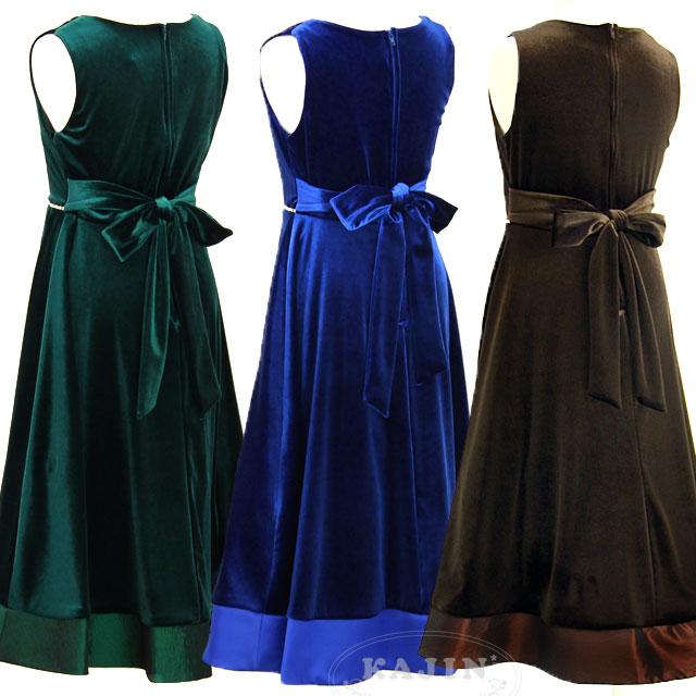スーパーSALE ラインストーンがキラキラ輝く ストレッチベロアノースリーブジュニアドレス