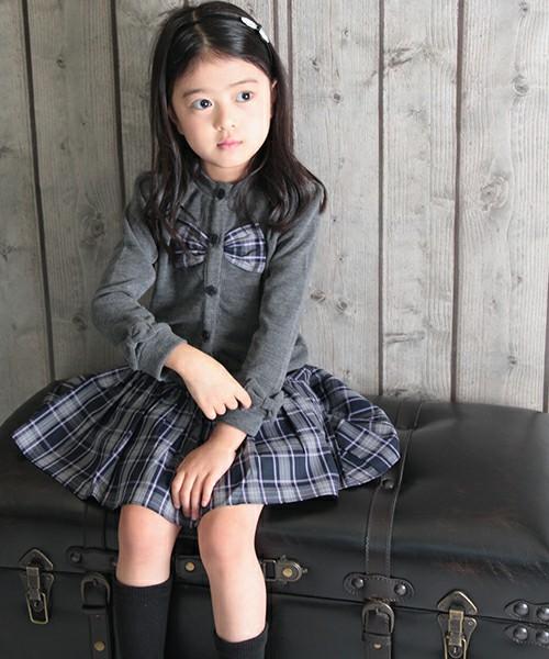 ショコラシリーズ 韓国服 ケイト カーディガン キッズ フォーマル カーディガン 女の子 羽織物 アウター 可愛い 無地 カーデガン 子供 グレー チャコール リボン 入園式 入学式 卒園式 結婚式 100 110 120cm