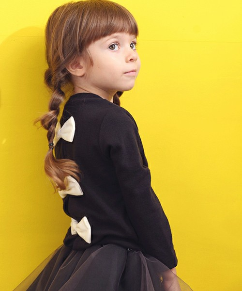 ショコラシリーズ 韓国服 ボリー カーディガン カーディガン キッズ フォーマル 黒 チャコール リボン 羽織りもの 子供 入園式 入学式 卒園式 七五三 ガーリー 女の子服 無地 可愛い リボン 100 110 120cm