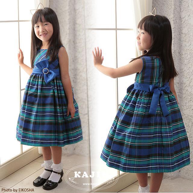 スーパーSALE 女の子フォーマル ブルー&グリーンタータンチェック柄プリンセスドレス「グリーン」