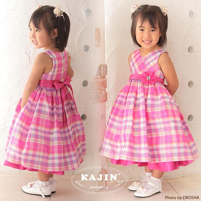 女の子フォーマルドレス コサージュ付きピンクのタータンチェック柄プリンセスドレス
