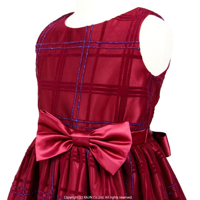 ラメとフロッキープリントのチェック柄 ウェストリボンのノースリーブドレス