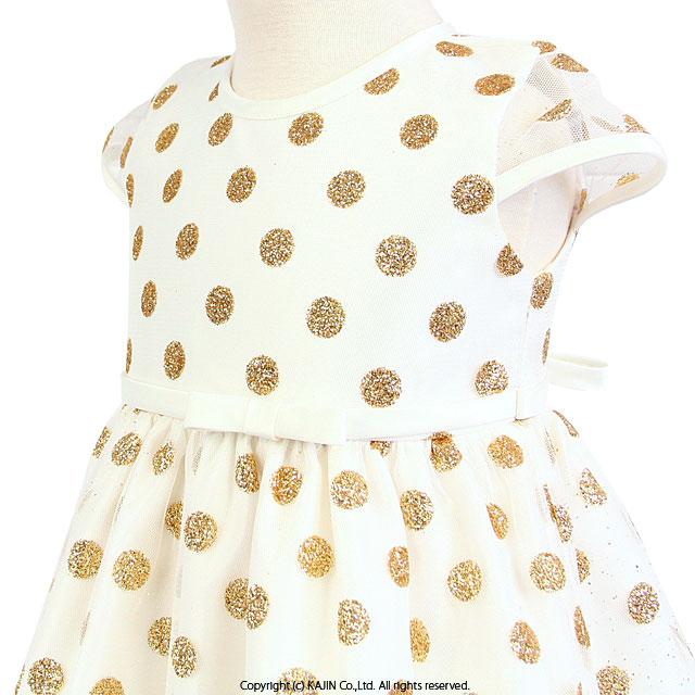 ベビードレス グリッタードットプリントの半袖メッシュ&サテンドレス