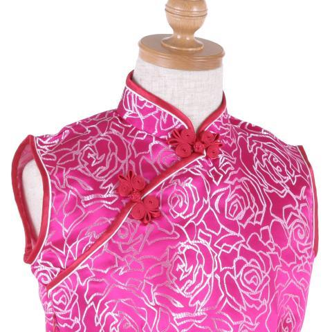シルバーショッキングピンク色ノースリーブ子供チャイナドレス ゆうパケット発送OK(1点のみ)